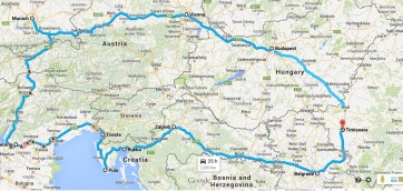Our travel routes. We'll start our journey in Arad and we'll get back in Romania through Timisoara