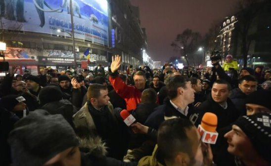 Romania's President (red jacket) joined the protest.