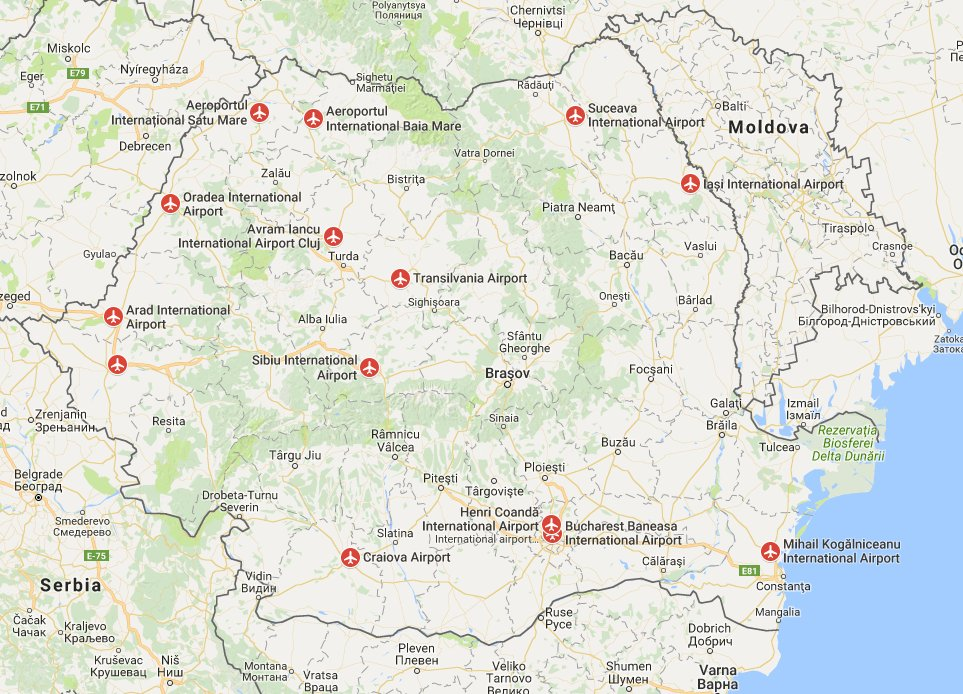 These are the international airports in romania with map romania image via google maps gumiabroncs Choice Image