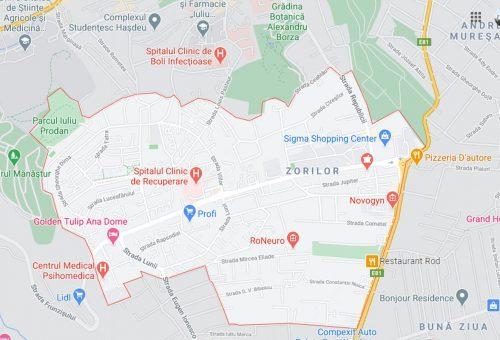 Zorilor neighborhood map
